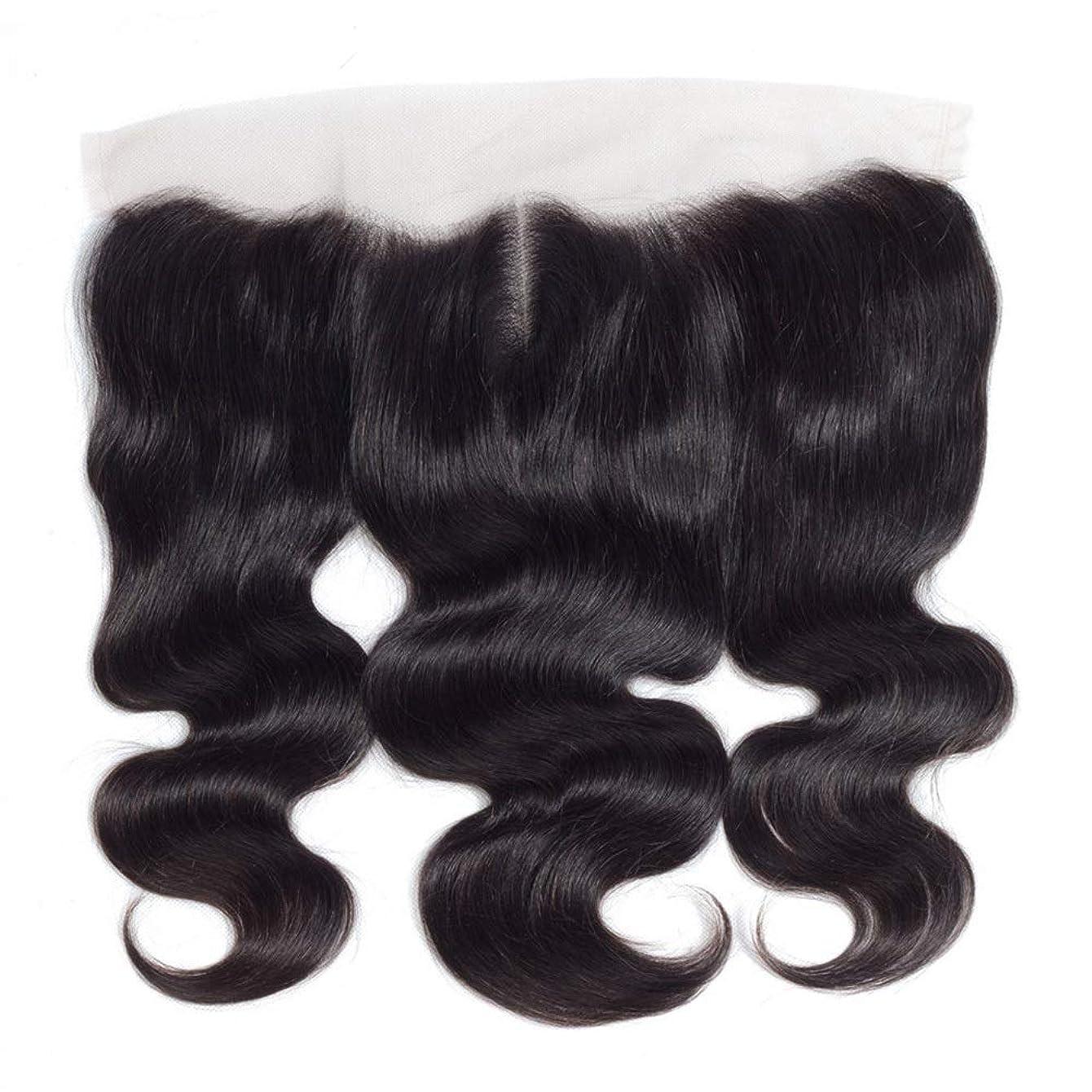 負荷証明シェアYESONEEP 13 * 4レース前頭閉鎖人間の髪の毛の部分 - ブラジル実体波トップミドル別れ長い巻き毛のかつら (色 : 黒, サイズ : 16 inch)