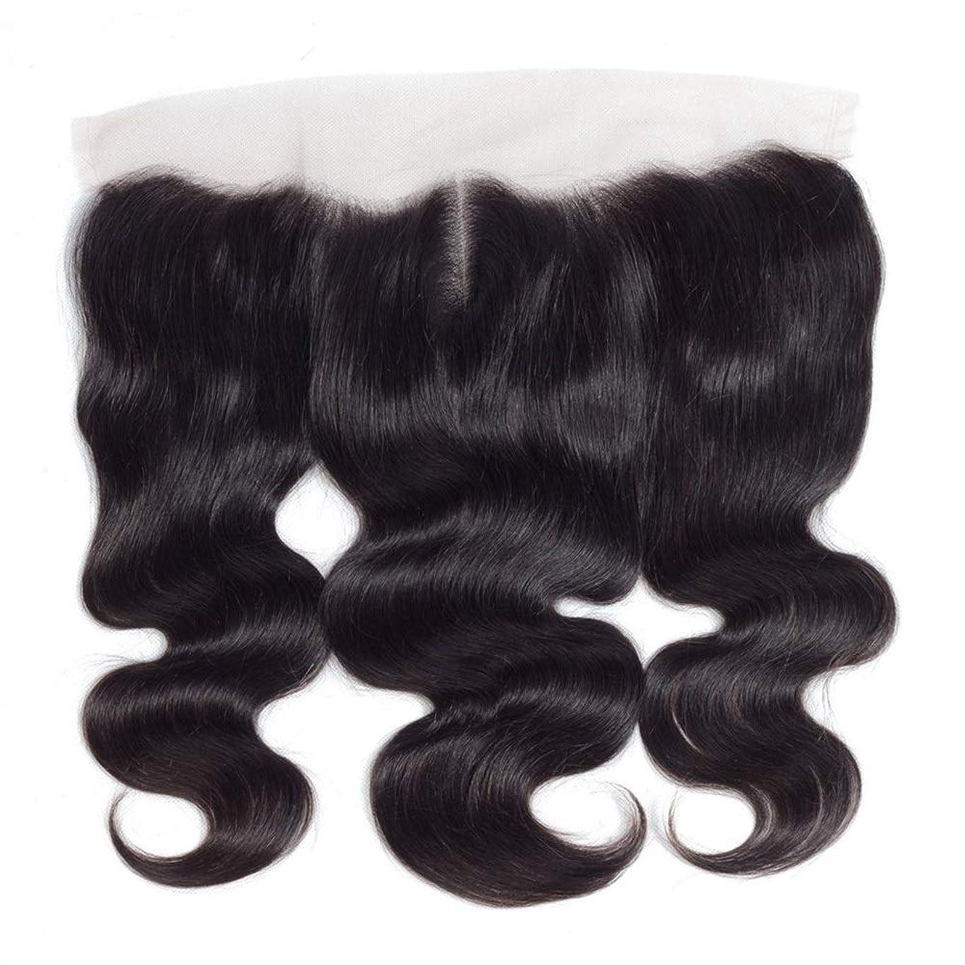 お父さんプレゼント軽量BOBIDYEE 13 * 4レース前頭閉鎖人間の髪の毛の部分 - ブラジル実体波トップミドル別れ長い巻き毛のかつら (色 : 黒, サイズ : 18 inch)