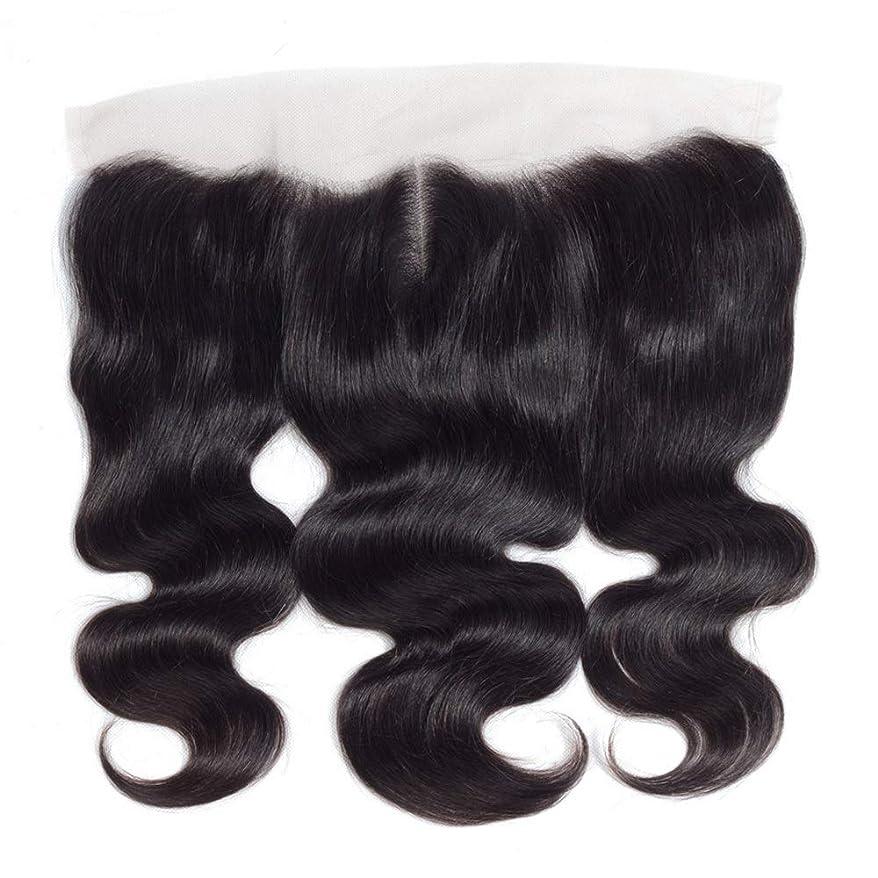 平らな粘液思われるHOHYLLYA 13 * 4レース前頭閉鎖人間の髪の毛の部分 - ブラジル実体波トップミドル別れ長い巻き毛のかつら (色 : 黒, サイズ : 14 inch)