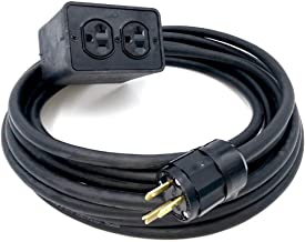 Rubber Quad Duplex Box - 4 AC Outlets & 25' 12/3 Hardwired Power Cable, USAMade