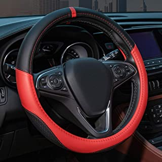 Circle Cool Car Direct Steering Wheel Cover Universal 15 inch for BMW Benz Honda Nissan Toyota Microfiber Leather Odorless Soft Breathable Anti Slip Auto Accessories(Black+Red)