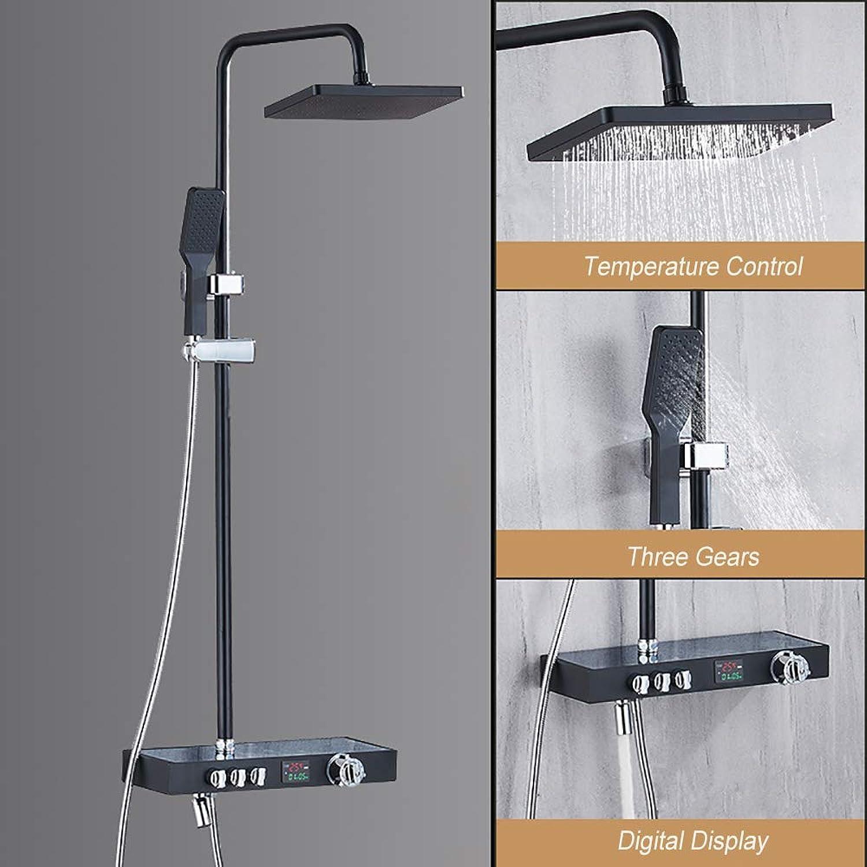 XSGDMN Neues Wasserduschsystem, Duscharmatur-Set mit Wanneneinlauf und LED-Digital-Fahrenheit-Anzeigeventil-Duschkombiset mit Temperaturregelung,A