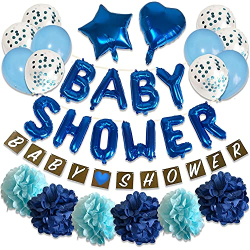 Baby Shower Decorations Boys Blue Banner Garland Bunting, Confetti Latex Balloons Foil Banner Pom Poms Decorations Mummy to Be Boy Set Blue Party Supplies