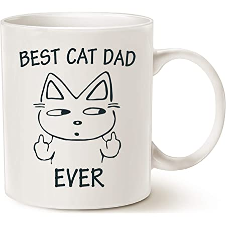 MAUAG Funny Cat Dad Coffee Mug for Cat Lovers, Best Cat Dad Ever Cute Father's Day Gifts for Dad Cup White, 11 Oz