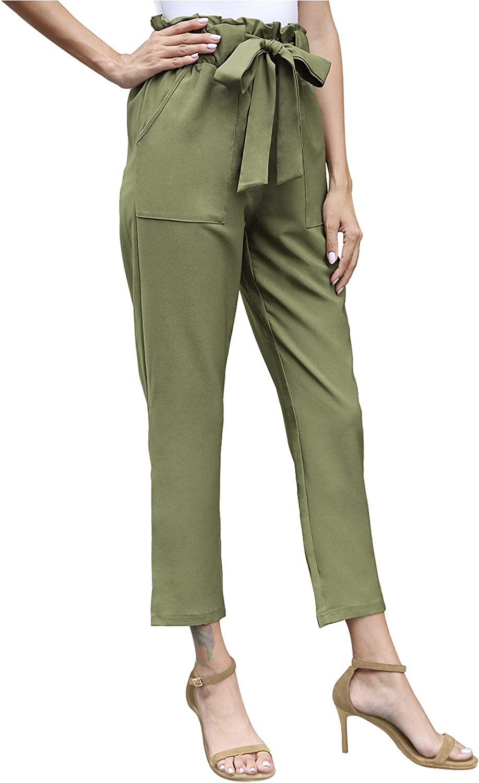 JULYER Women's Long Casual Paper Bag Elastic High Waist Trouser Pencil Pants with Pockets