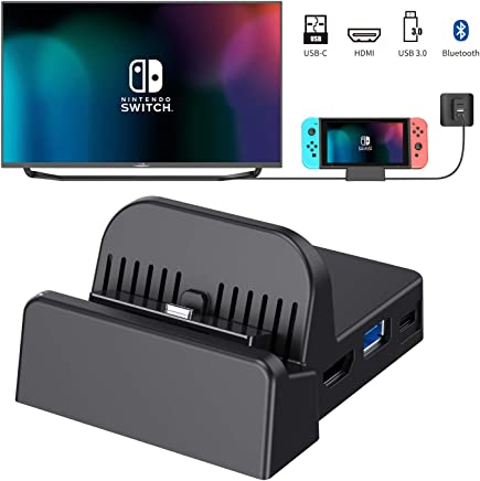 $29 Get OLCLSS Portable Switch Dock with Bluetooth Adjustable Switch Docking Station with Type-C Input Interface Mini HDMI Video Conversion Dock Base with LED Indicator for Nintendo Switch Host
