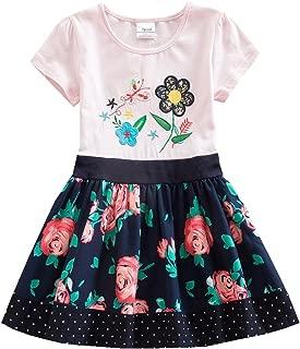 JUXINSU Girl Short Sleeve Dress Summer Wear Cotton Owl Cartoon Embroidery SH6252