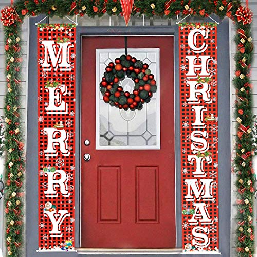 FECEDY Merry Christmas Hanging Banner Porch Sign with Pattern Christmas Tree Presents Snow Banner for Home Yard Indoor Outdoor Wall Door Christmas Party Decorations 72'x12'