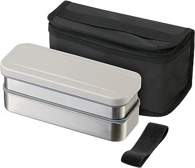 スケーター ステンレス 弁当箱 2段 740ml スリム ランチボックス 保冷バッグ付 シルバー KSTPW7P