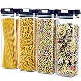 HOdo Müsli-Behälter für die Küche, Vorratsdosen mit luftdichtem Deckel, langlebiger Kunststoff, BPA-frei, extra groß, 1,9 l x 4 Behälter-Set