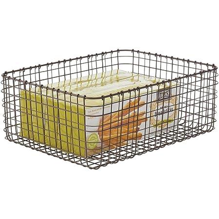 mDesign panier de rangement pratique – panier en métal compact pour cuisine ou garde-manger – panier rangement polyvalent pour ustensiles, denrées alimentaires, etc. – couleur bronze