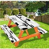 LEWIS FRANKLIN - Mantel ajustable para mesa de picnic y mesa de ducha, diseño paisajístico con borde elástico, 70 x 72 cm, juego de 3 piezas para mesa plegable