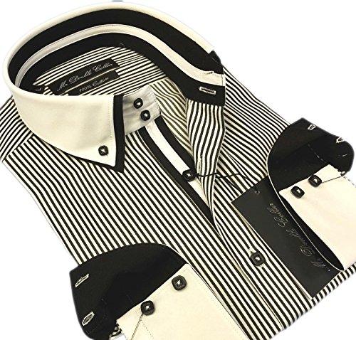 MrDoubleCollar Herren-Hemd, elegant, lässig, formell, Doppelkragen, Langarm Gr. M, Schwarze Nadelstreifen