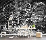 Papel Pintado 3d Pared Tigre Blanco Y Negro Jugando En El Agua Fotomural fondo Salón Dormitorio Despacho Decoración Murales Paredes 400cmX280cm