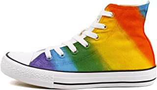 Hand Painted High Top Rainbow Canvas Shoes Sneakers