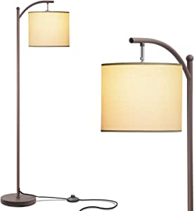 addlon Floor Lamp for Living Room with Beige Linen Lamp Shade and 9W LED Bulb Modern Standing Lamp Floor Lamps for Bedrooms - Brown