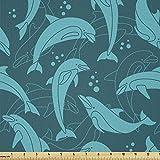 Lunarable Delphin Stoff von The Yard, Cartoon Stil Delfine