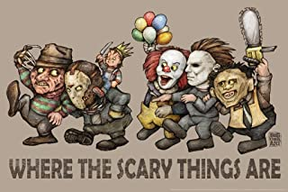 Where The Scary Things are by Big Chris Light Horror Movie Laminated Dry Erase Sign Poster 12x18