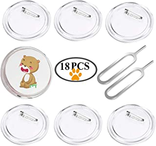 18 Pack Button Badge 2.55inch with Removal Tool Eject Pin, Clear Plastic Craft Button with Pin for DIY Crafts, Children's Craft Activities, Team Mark of Outdoor and Souvenir Appliques