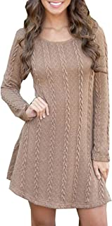 Fanybin Fashion Women Twist Knot Tunics Sweaters Dress Casual Long Sleeve Slim Fit Solid Color Simple Blouse Tops Dresses