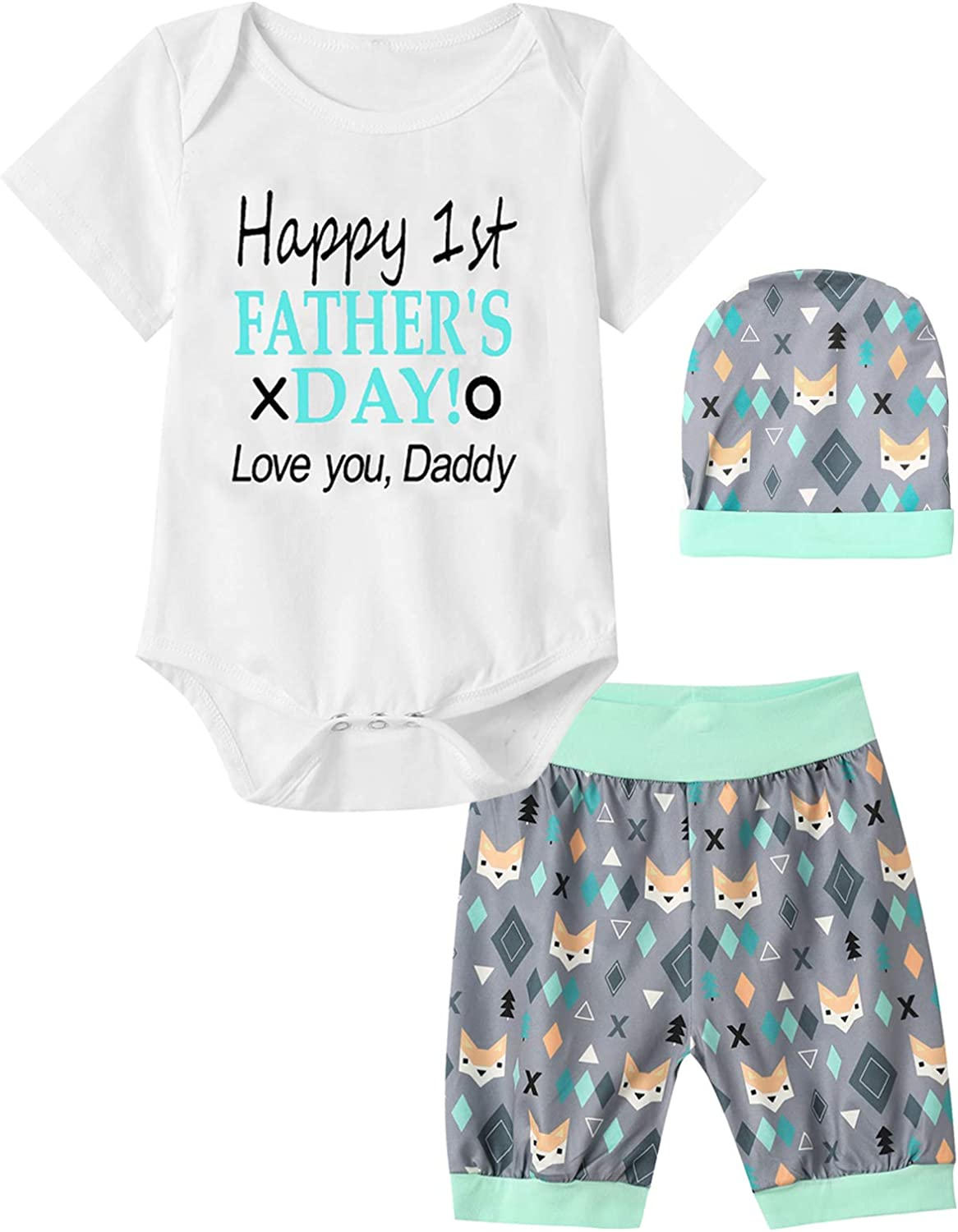 Dramiposs Happy 1st Father's Day Outfit Set Baby Boys Funny Fox Short Sets