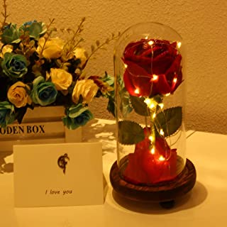 Beauty and The Beast Rose, Enchanted Red Silk Rose and LED Light with Fallen Petals in Glass Dome on a Wooden Base, Gift for Her - Holiday Birthday Party Wedding (1 Mode Wooden)