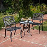 Christopher Knight Home Ariel | 3 Piece Cast Aluminum Outdoor Bistro Set | with...