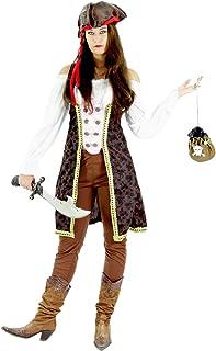 Foxxeo Traje de Pirata para el Carnaval de señoras Carnaval Pirata Carnaval de Mujeres Novia, tamaño XL