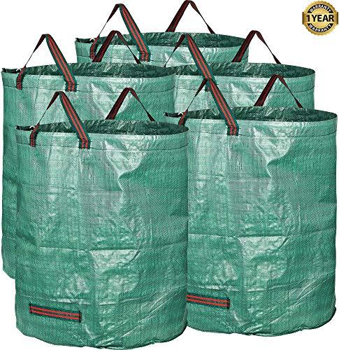 Edinco Tuinafvalzakken met 1 Jaar Garantie | Heavy Duty | Grote 272L (H76 cm, D67 cm) | Waterdichte Wrijf Wrijf zakken met handvatten | scheurvast blad gras speelgoed Wasserij Gereedschap Multifunctionele Tassen 5 Bags Groen
