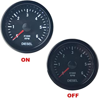 "Dewhel Universal 52MM 2"" Vision Black Diesel 6K Speed RPM 6000 Electrical Tachometer tachos Rev Counter Gauge Whiter LED JDM Sport Meter Kit Car interior Accessories For Diesel Engine"