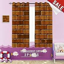 Big datastore home Custom Made Curtain, Aged Architecture Backdrop Background Block Brick Bricks brickwall Brickwork Brown Cement 55 x 40 inch Grommet Children's Small Curtains