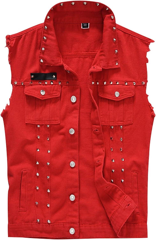 EverNight Men's Slim Fit Punk Denim Vest,Casual Distressed Lapel Jacket Waistcoat,Sleeveless Jeans Vest Jacket with Rivets