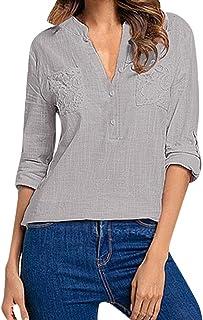 ef728f99 Camisas Mujer Tallas Grandes, Zolimx Moda Camiseta Sólida Mujer Chifón  Blusas de Oficina de Manga