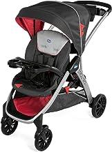 Chicco Stroll'n'2 Silla de paseo para dos niños con asiento y patinete trasero, color negro y rojo (Lava)