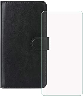 LMLQSZ Mobiltelefonskal för Sony Xperia 10 III Lite pansarglas, HD härdat glas skärmskydd – läder flip plånboksfodral skyd...