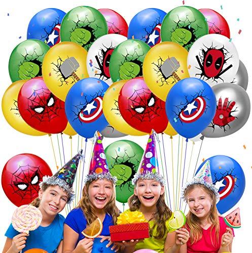 Qemsele Globos para fiestas de Niños, 50Pcs Globos Fiesta Cumpleaños Decoración Dibujos animados 12inch Globos de latex con confeti dentro y Cintas, para Favores Regalo Carnaval Boda(Avengers)
