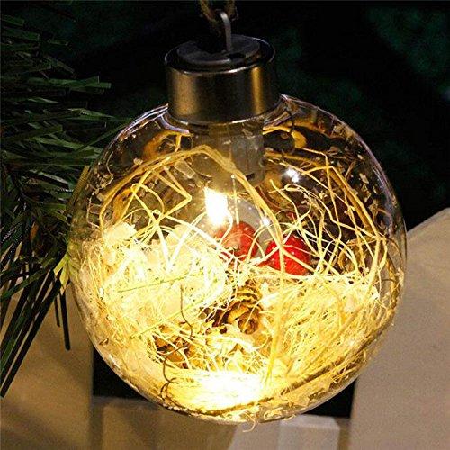 lulalula Boule de Noël transparente avec lumière - Décoration de Noël à suspendre pour mariage, jardin, maison, fête (A1)