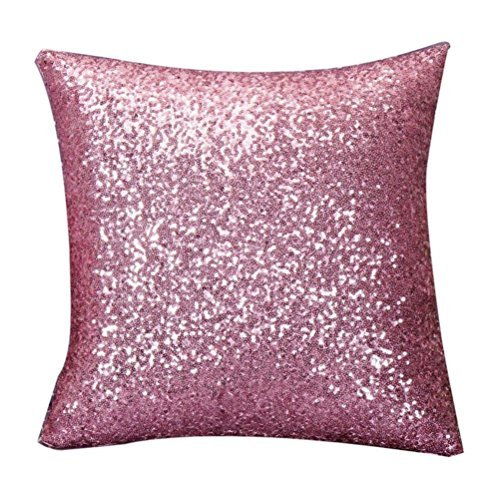 Coussins décoratifs solide Couleur Glitter Paillettes Throw Taie d'oreiller 40 cm * 40 cm Rose