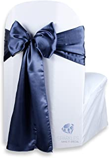 Sparkles Make It Special 100 pcs Satin Chair Cover Bow Sash - Navy Blue - Wedding Party Banquet Reception - 28 Colors Available