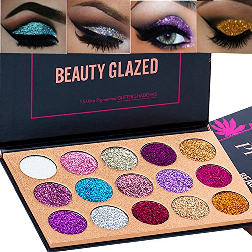 Beauty Glazed 15 Colors Glitter Eyeshadow Palette Shimmer Ultra Pigmented Makeup Eye Shadow Powder...