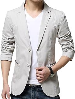 OUYE Men's 2 Button Cotton Casual Blazer