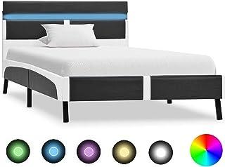 vidaXL Cadre de Lit avec LED Lit Rembourré Lit Siimple Lit Adulte Sommier à Lattes Chambre à Coucher Maison Intérieur Noir...