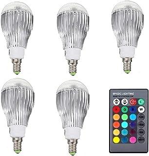 SGJFZD 5PCS RGB LED Lamp 10W 85-265V E14 LED RGB LED Light Bulb 110V 120V 220V Led Soptlight Remote Control 16 Colors Chan...