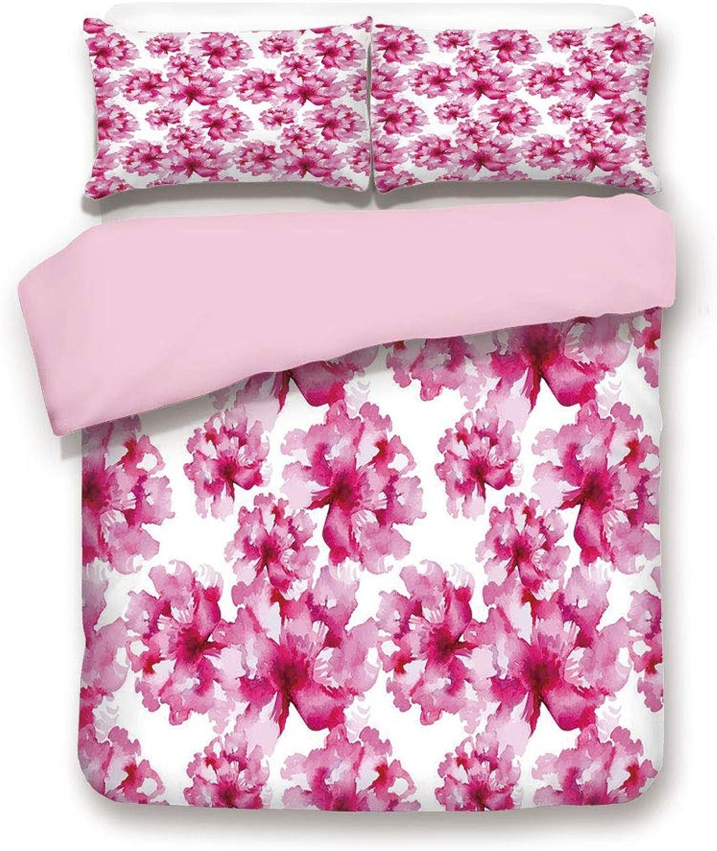 Pink Duvet Cover Set,Queen Size,Abstract Floral Arrangement
