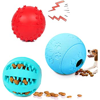 犬 玩具ボール 犬用 おやつボール 噛むおもちゃ 天然ゴム 耐久性 3個セット (3個セット)