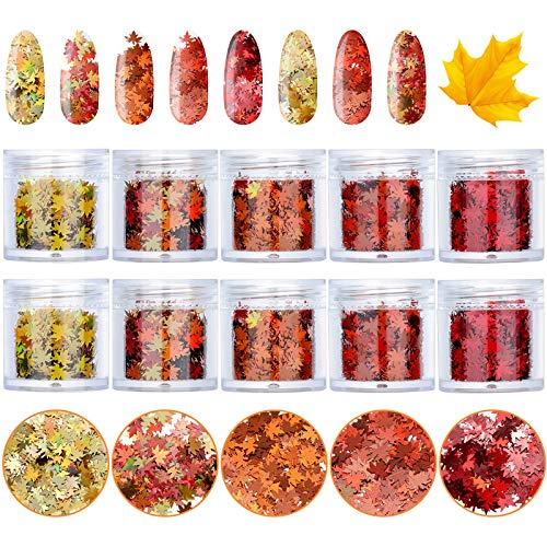10 Boxes Maple Leaf Nail Sequins Leaf Nail Art Glitter Sequins Fall Holographic Nail Art Sequins Thanksgiving Nail Decals Accessories for Women Girls DIY Nail Art Decoration, 5 Colors