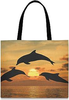 LUPINZ Damen Handtasche mit Delfin-Motiv, Segeltuch, Gelb