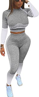 Women's Workout Outfit Two Pieces High Waist Bodycon Yoga Leggings and Long Sleeve Crop Top Gym Clothes Sets Tracksuit