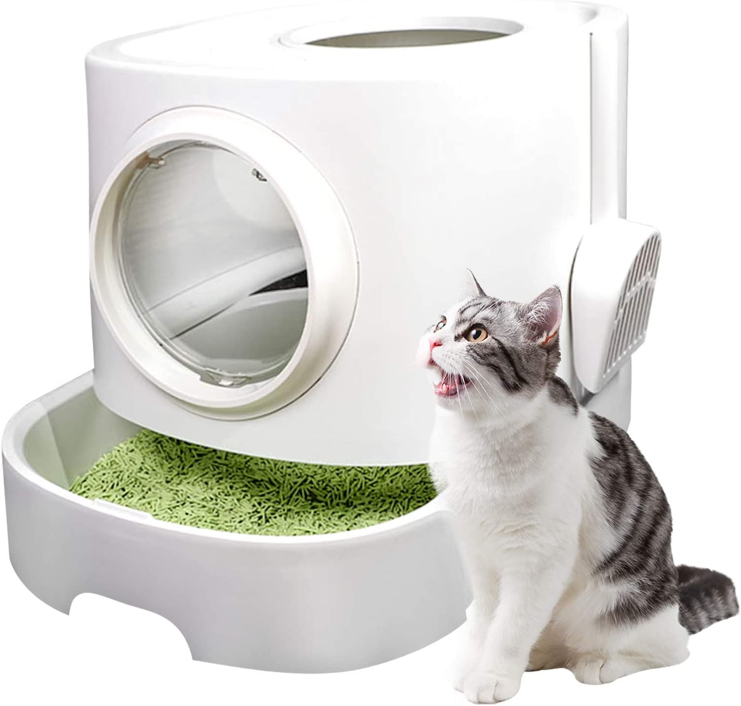 Large Capacity Cat Indefinitely Litter Box with Scoop Enclosed Outlet SALE Top Litt Entry