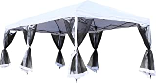 Outsunny 10' x 20' Pop-Up Canopy Shelter Party Tent with Mesh Walls - Cream White